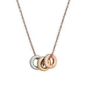 MICHAEL KORS • Tri-tone Logo Pendant Necklace
